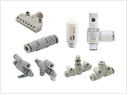 Speed control valves, check valves, and auxiliary components