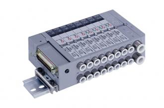 CKDPLC-compatible reduced wiring block manifold pneumatic valve